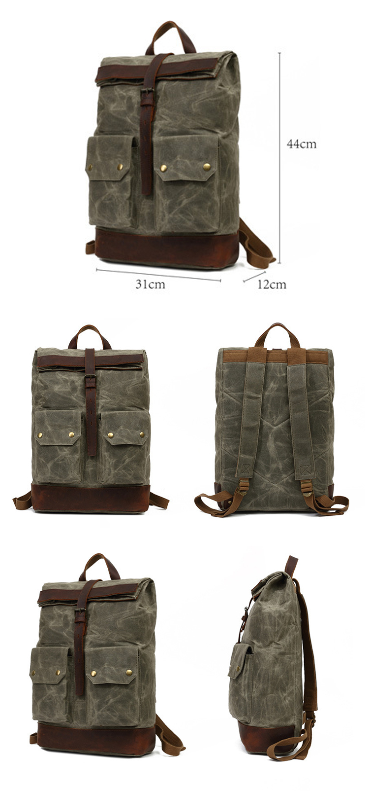 New design wholesale waterproof waxed canvas vintage bicycle unisex outdoor backpack back pack bagpack bag