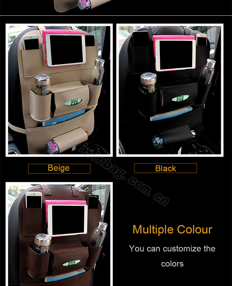 PU Leather Dirty Resistant Car Seat Back Organiser Folding Portable Storage with Tablet Holder