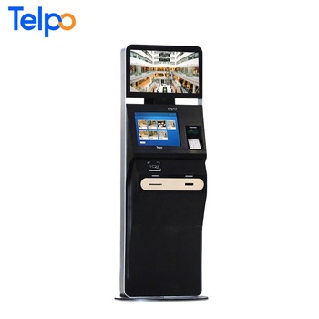 TPS717 dual screen facial recognition camera RFID card bill dispenser hotel check in kiosk