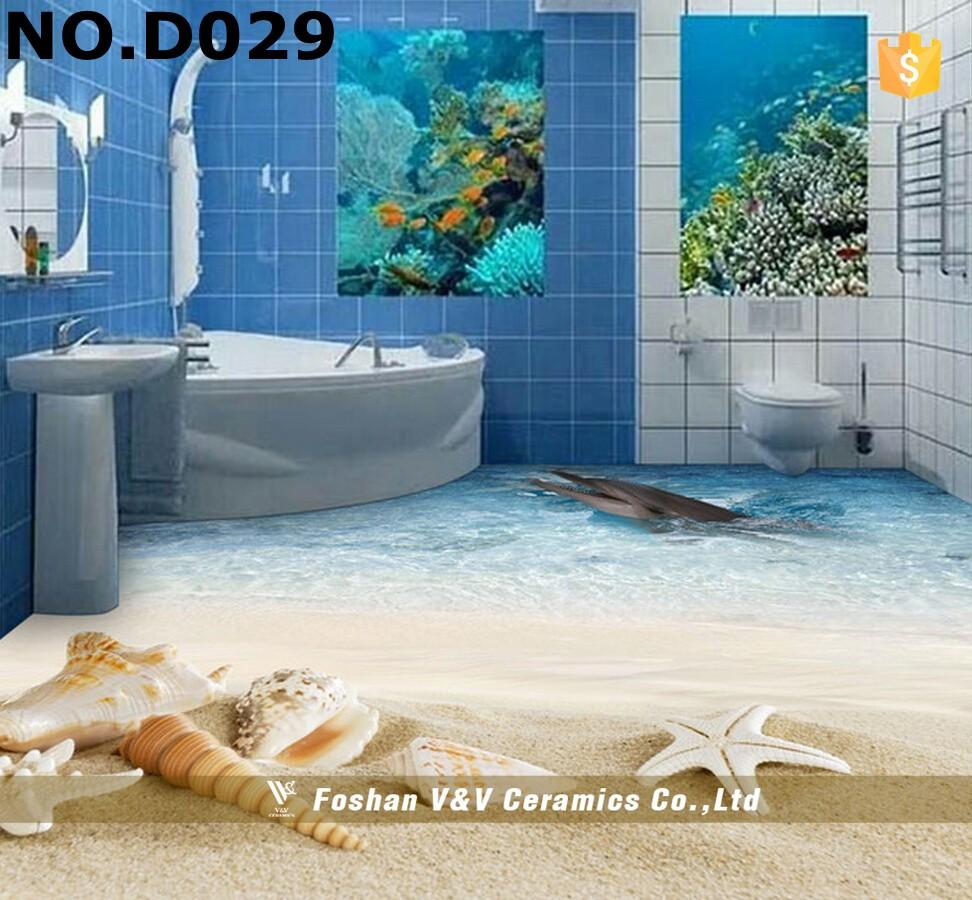 New Beach 3d Design Bathroom Ceramic Floor Tile - Buy Bathroom ...