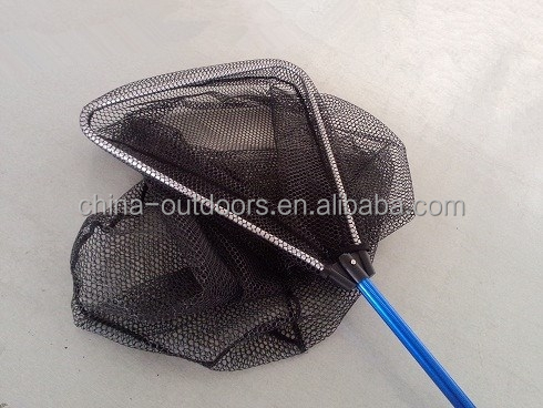 telescopic folding aluminum long handle triangle nylon fishing landing net