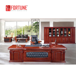 Soild wood luxury design executive wooden office boss table,leather desk set(FOHA9B-321)