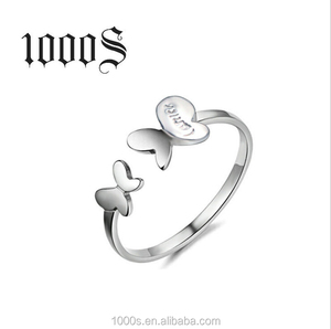 D Shape Silver Fashion Wedding Jewelry, Luxury Butterfly Wedding Rings, 925 Sterling Silver Ring