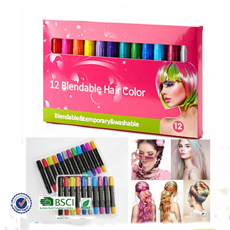 6/8/12 Colorful Temporary Hair Chalk Pens Washable Hair Dye Chalk For Girls  Gifts Kids Toys Birthday Party - Buy Hair Chalk For Girls Kids,6/8/12 ...