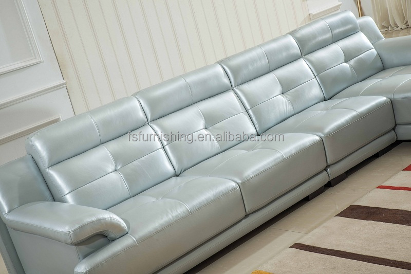 LS228 Pearl Shine Luxury Modern Living Room Italy Genuine Cow Leather Sofa  L Shape Sectional Yellow
