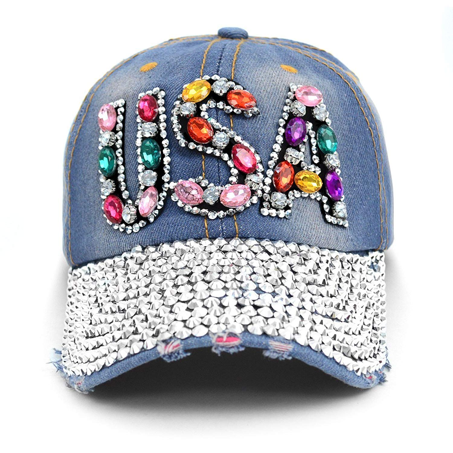2f6aa577dc8b7 Get Quotations · Nollia USA Patriotic Baseball Cap Hat~Bling~Studs~ Rhinestone~Faux Gemstone Embellished
