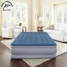 Comfort Flock Quality Inflatable Plastic PVC Materials Raised Queen Air Mattress Bed For Bedroom