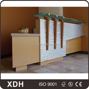 High quality small glass top wood base office front desk design