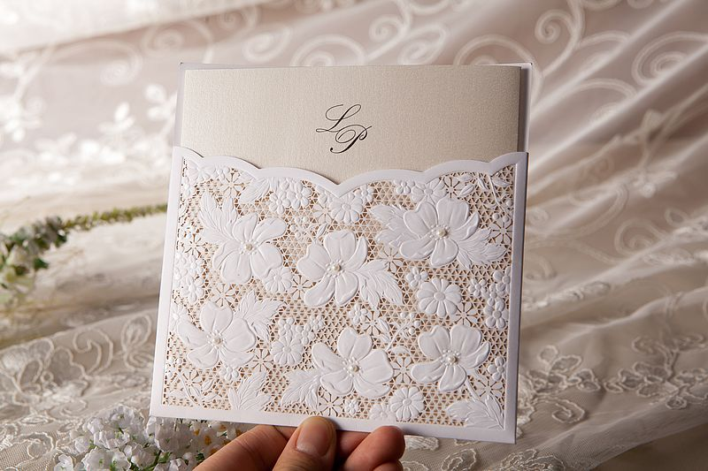 beautiful laser cut wedding invitation cards with pearl
