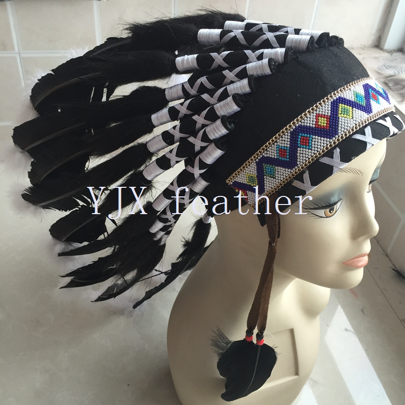 wholesale native headdress indian feather headdress for carnival costumes decoration