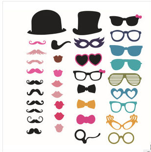 Valentines Day Party Gifts Photo Booth Props Glasses Hat Red Lips Mustache  Wedding Birthday Favor Decoration