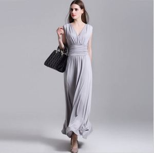 2018 New Summer Designs V Neck Sleeveless Indian Sary Fat Ladies Party Maxi 100%Silk Dress