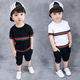 KS20794B Fashion striped kids clothes set boys short sleeve summer suit
