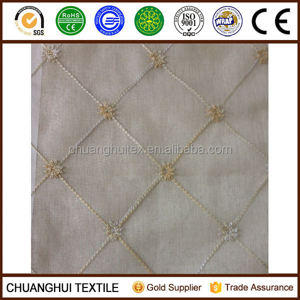 new product 280cm width embroidered sheer voile curtain fabric