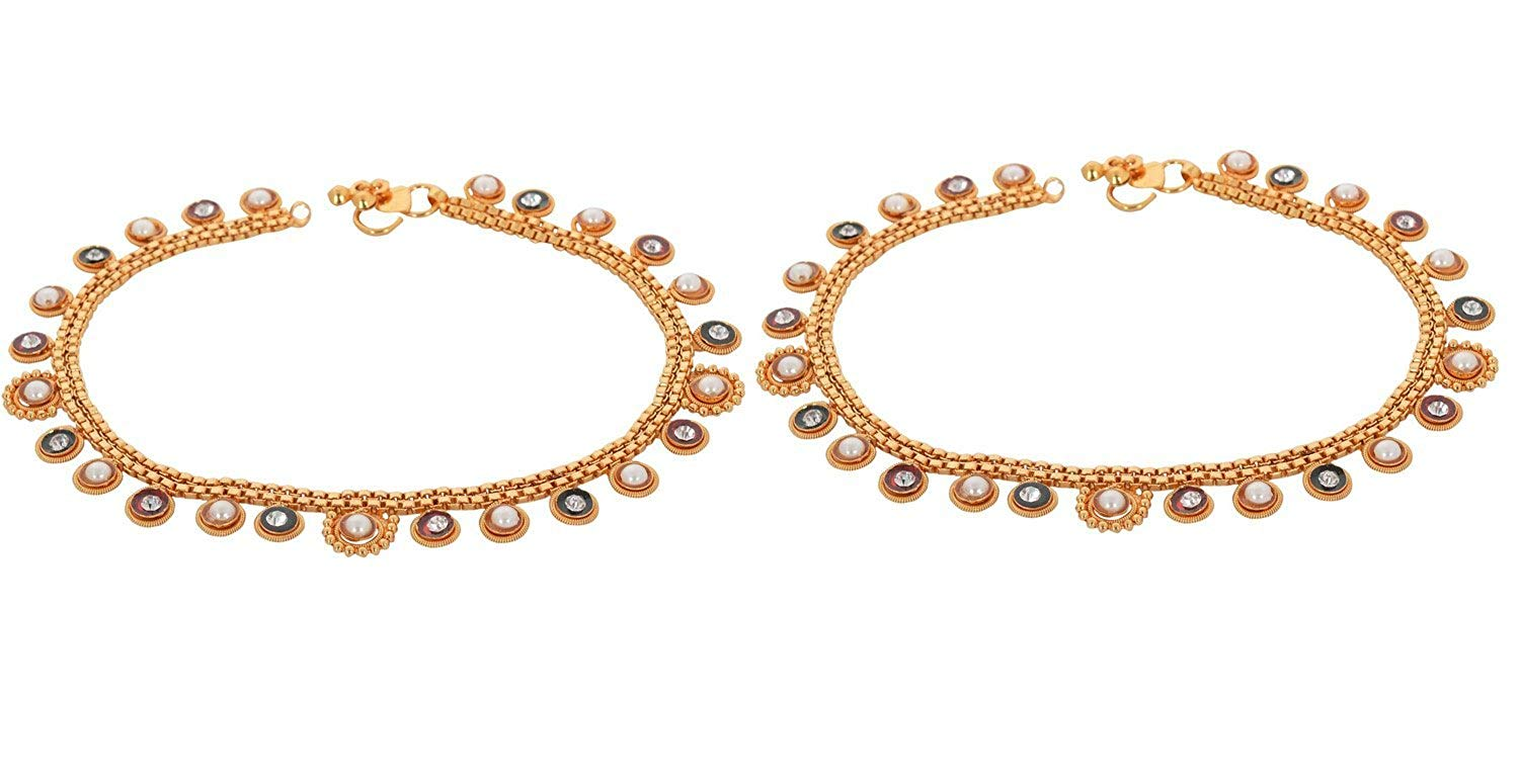 Handicraft Kottage Women's Fashion Jewelry Gold Metal Anklet (HK-AAMG-6007)