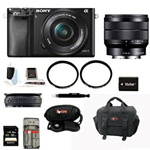 Sony ILCE6000L/B ILCE6000LB ILCE-6000LB Alpha A6000 Mirrorless Digital Camera with 16-50mm Lens (Black) + Sony SEL1018 10-18mm Wide-Angle Zoom Lens + Sony 32GB SDHC/SDXC Class 10 UHS-1 Memory Card + Focus Deluxe Soft Shell Camera Gadget Bag + NPFW50 Battery for Sony + All in One High Speed Card