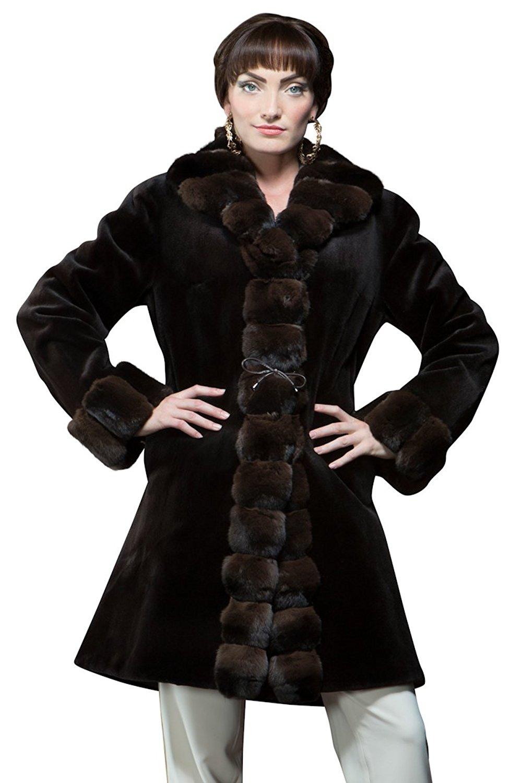 EM-EL Women's Sheared Mink and Chinchilla Reversible Mid-Length Fur Coat