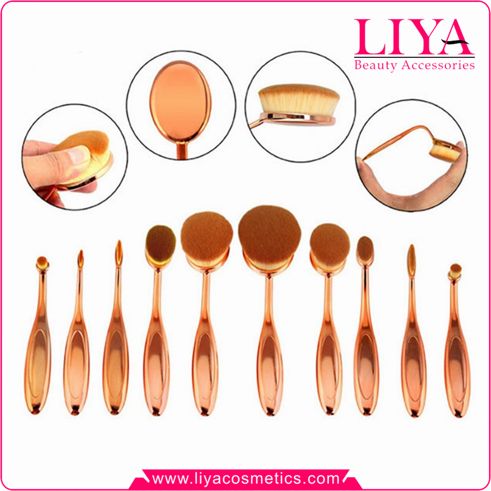 10pc Oval Cream Power tooth shape rose gold makeup brush kit