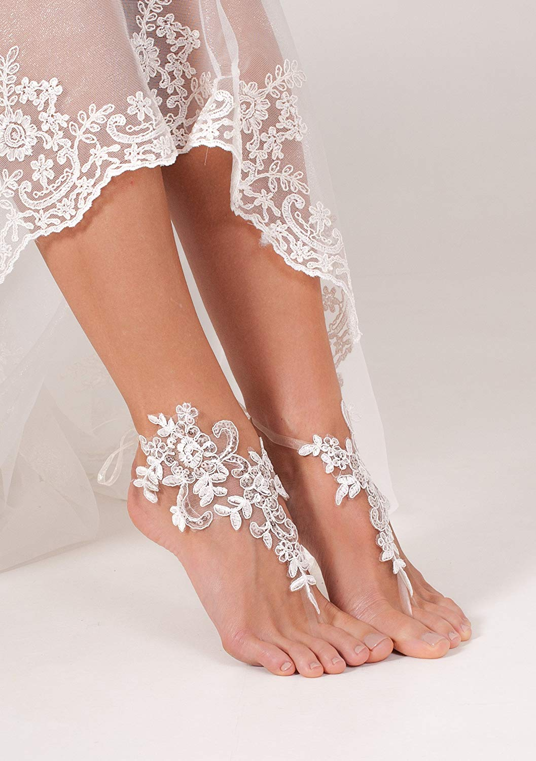 Lace Sequins Barefoot Sandals, Bridal accessory, Nude shoes, Foot thongs, French Lace, Sexy, Beach wedding Anklet, bottomless shoes