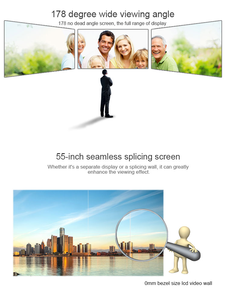 "55"" Slim 3x3 DID lcd video wall Digital signage screen for advertising player totem monitor"