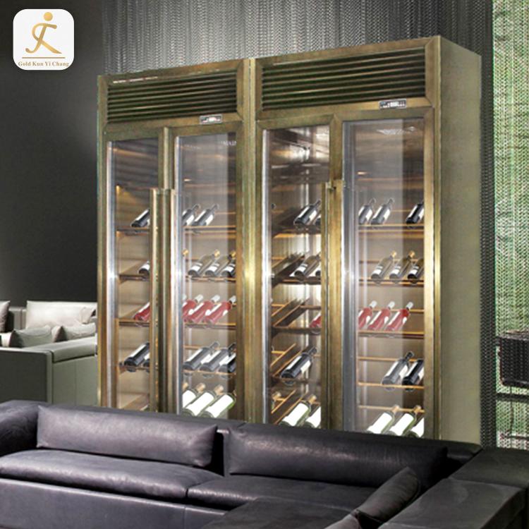 Ss316l Chinesischen Kommerziellen Alkohol Bar Whiskey Schrank Restaurant Edelstahl Wein Schrank Display