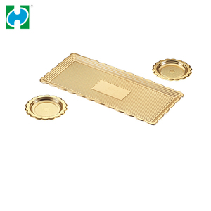 Custom Disposable Pastry Plastic Plates Containers Gold Food Tray