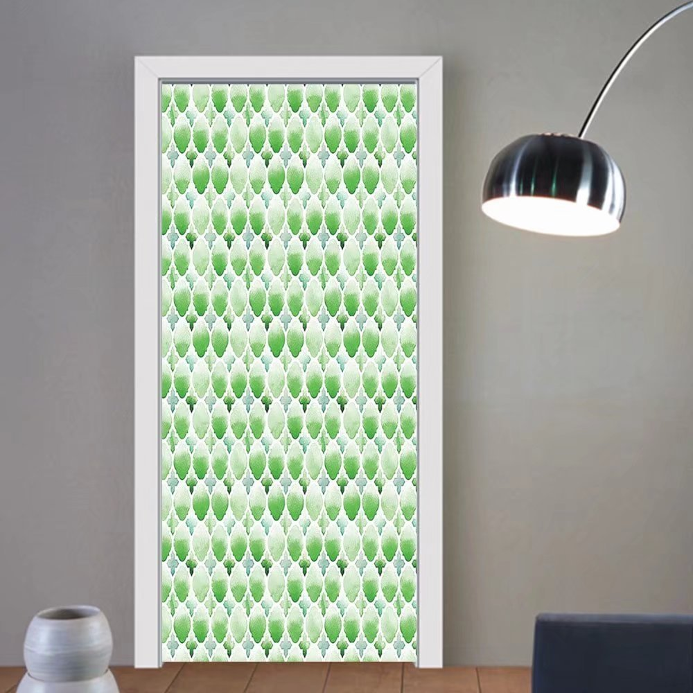 Gzhihine custom made 3d door stickers Quatrefoil Decor Green Clovers Moroccan Watercolor Style Art Arabic Good Luck Theme Decor White Green For Room Decor 30x79