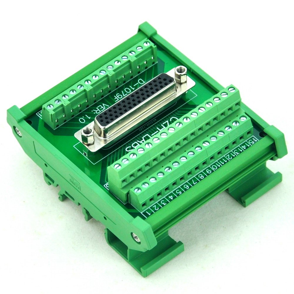 Electronics-Salon DIN Rail Mount D-SUB DB44HD Female Interface Module, Breakout Board, DSUB DB44.