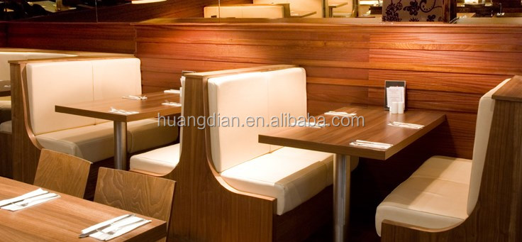 Wooden Frame Black Leather Upholstered Restaurant Dining