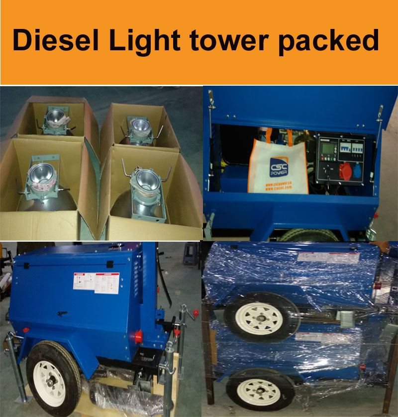 CSC POWER !! hot sale best price 8kw small portable mobile generator light tower