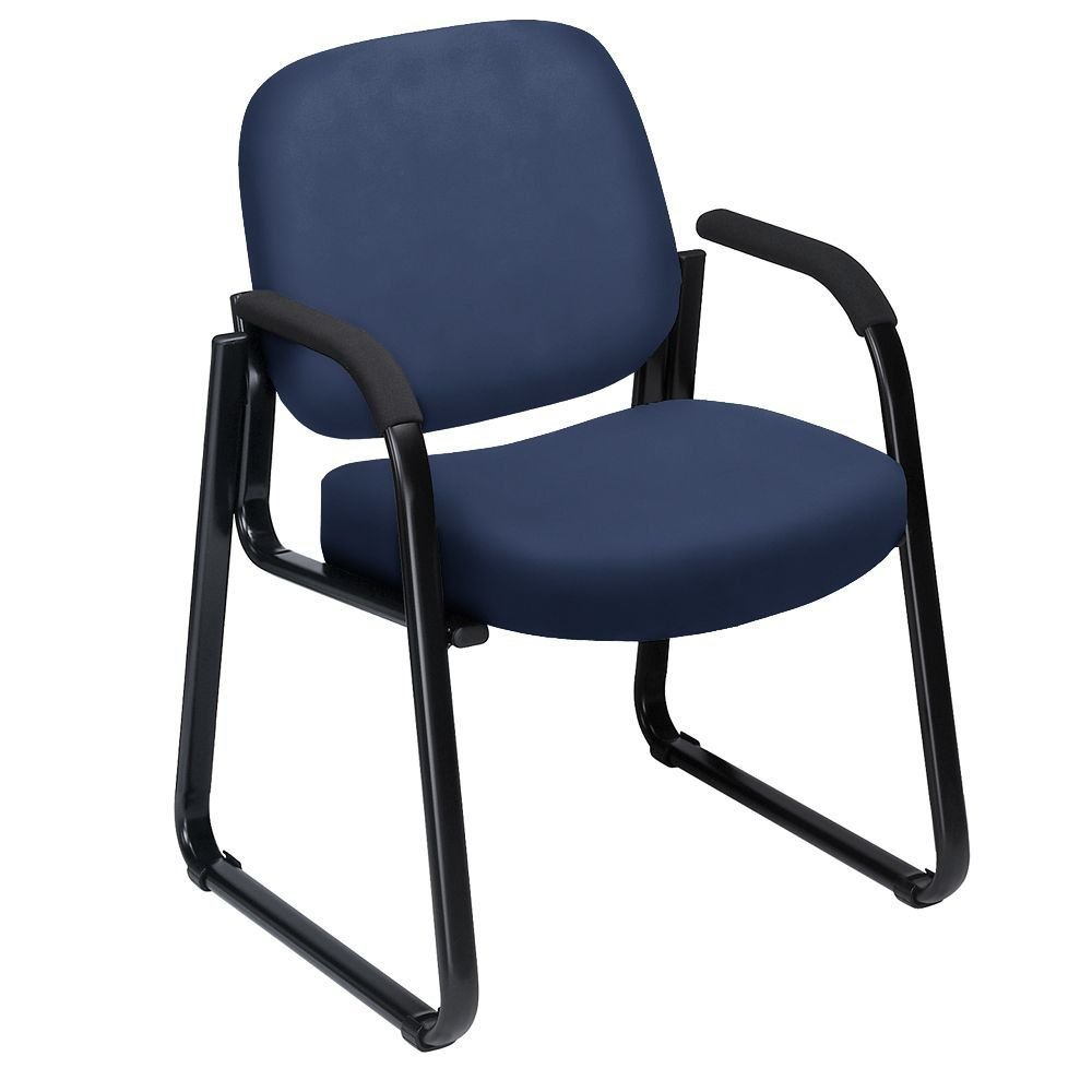 "Vinyl Sled Base Guest Chair Navy Vinyl Dimensions 24.75""W x 26.5""D x 33""H Seat Dimensions 19.5""Wx19.25""Dx18.5""H Back Dimensions 19.5""Wx16.75""H Weight 32 lbs"