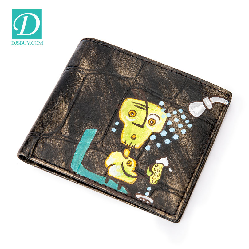 Low MOQ fashion vintage cowhide leather men's wallet custom printing bifold short wallet