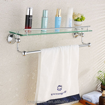 Popular Bathroom Accessories Single Glass Shelf With Towel Bar