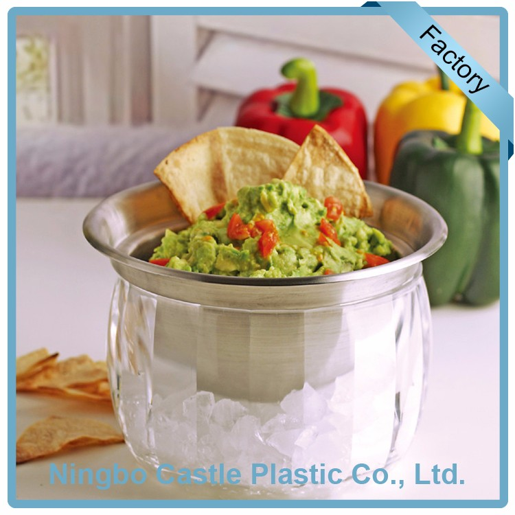 Serving Cold Bowl On Ice Plastic Transparent Clip On Dip Bowl