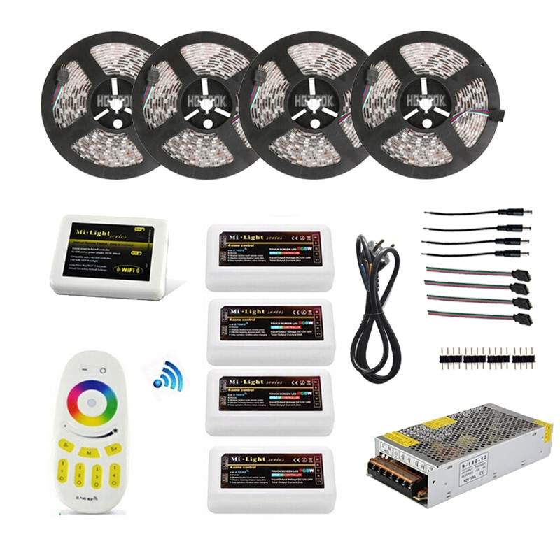 WIFI Remote Controller + 20M 12V Waterproof ip65 Dimmable 5050 RGBW Led Strip tira kit