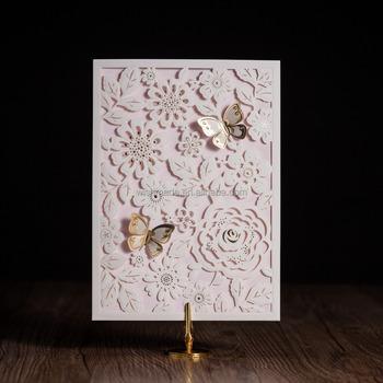 Laser cut wedding birthday invitation card with pop up butterfly laser cut wedding birthday invitation card with pop up butterfly design cw5192 stopboris Image collections