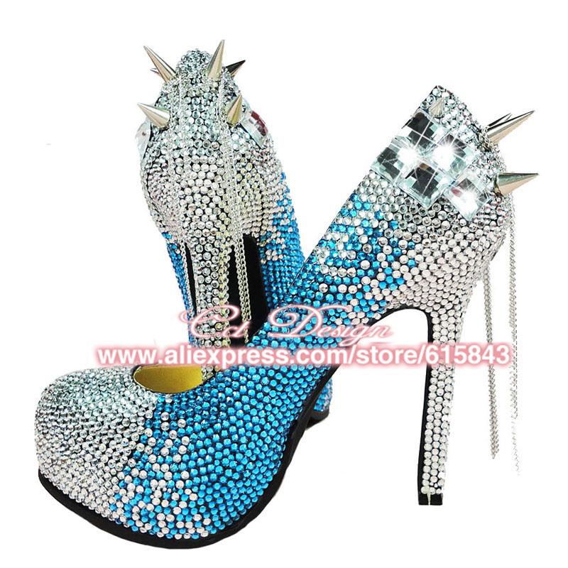 Get Quotations · 2015 New Fashion Wedding Shoes Blue Rhinestones Evening Party  Shoes Women Crystal High Heels 14CM Color 0c116e737c75