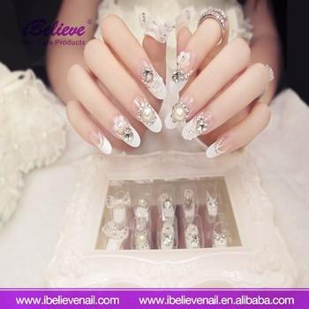 Valse Acryl Nail Art Tips Ovale Diamant Shining Wedding Beauty Nail