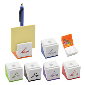 Stationery office desktop brand logo print solid white base Plastic cubic square name card stand clip holder ballpoint pen rack