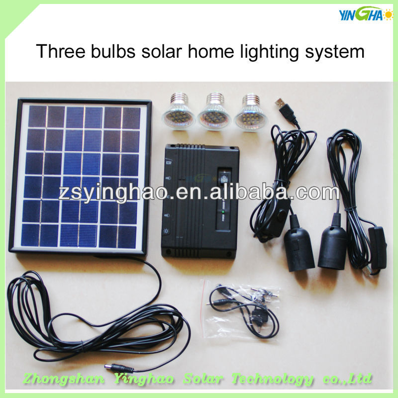 2012 newest portable 4.5w solar led home light with 3 pcs 0.7w led bulbs