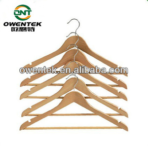 OEM Hotel Bend Shape Lotus Wooden Clothes Hanger With Clip