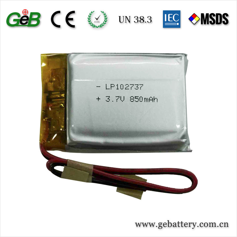 china factory direct sale 102737 3.7v li-ion 850mah lithium rechargeable battery for battery pack