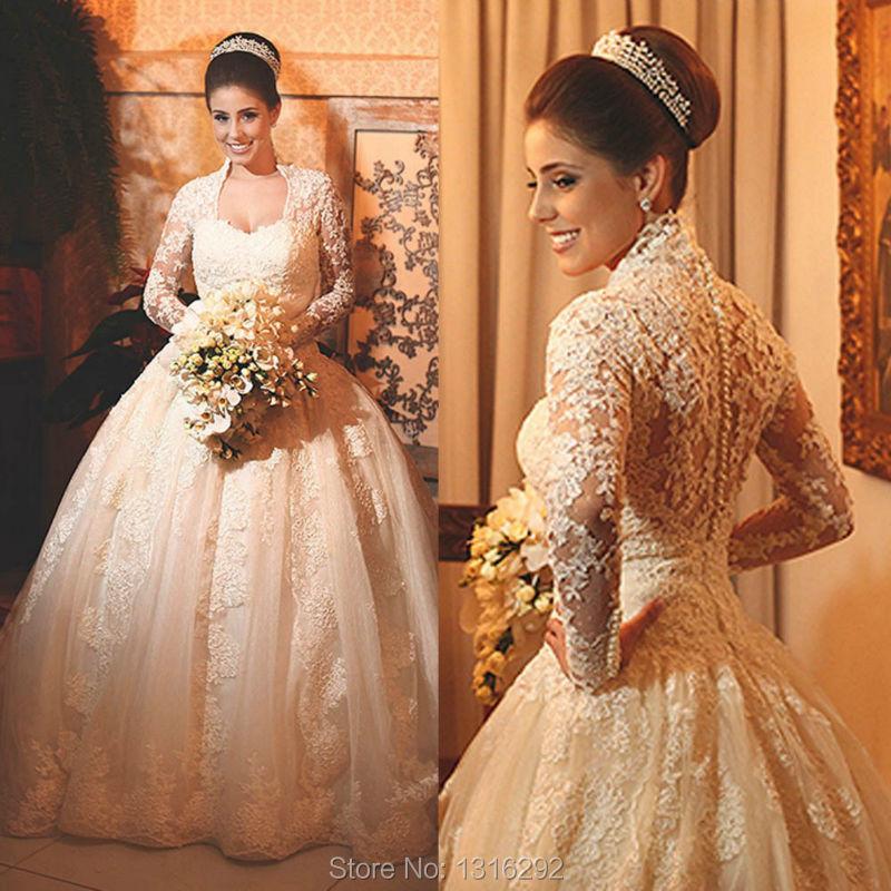 Elegant Long Sleeve Wedding Dresses Muslim Dress 2015: New Elegant Lace Long Sleeves Ivory Wedding Dresses Muslim