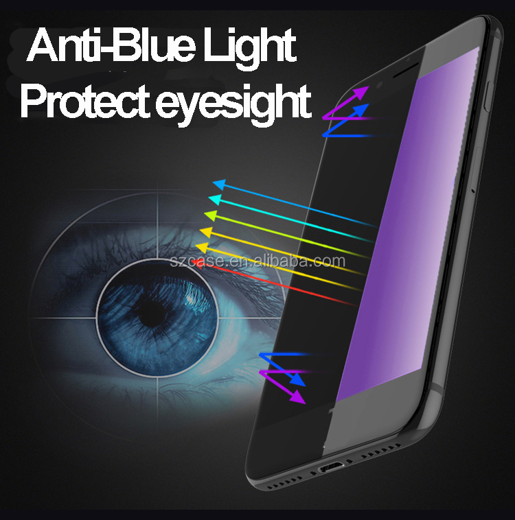 Anti Blue Light 0.26mm 9H Bunte 3D Displayschutzfolie aus gehärtetem Glas für iPhone 7 / 7plus / 6/6 Plus