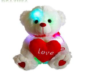 4f39841b71b OEM Night Light Up White Teddy Bear Plush Toy With Red Heart Custom LOGO  Pretty Stuffed