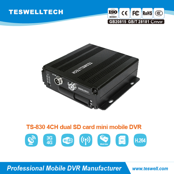 4ch 4g 720p AHD mini size mobile dvr, support people counting and face recognition