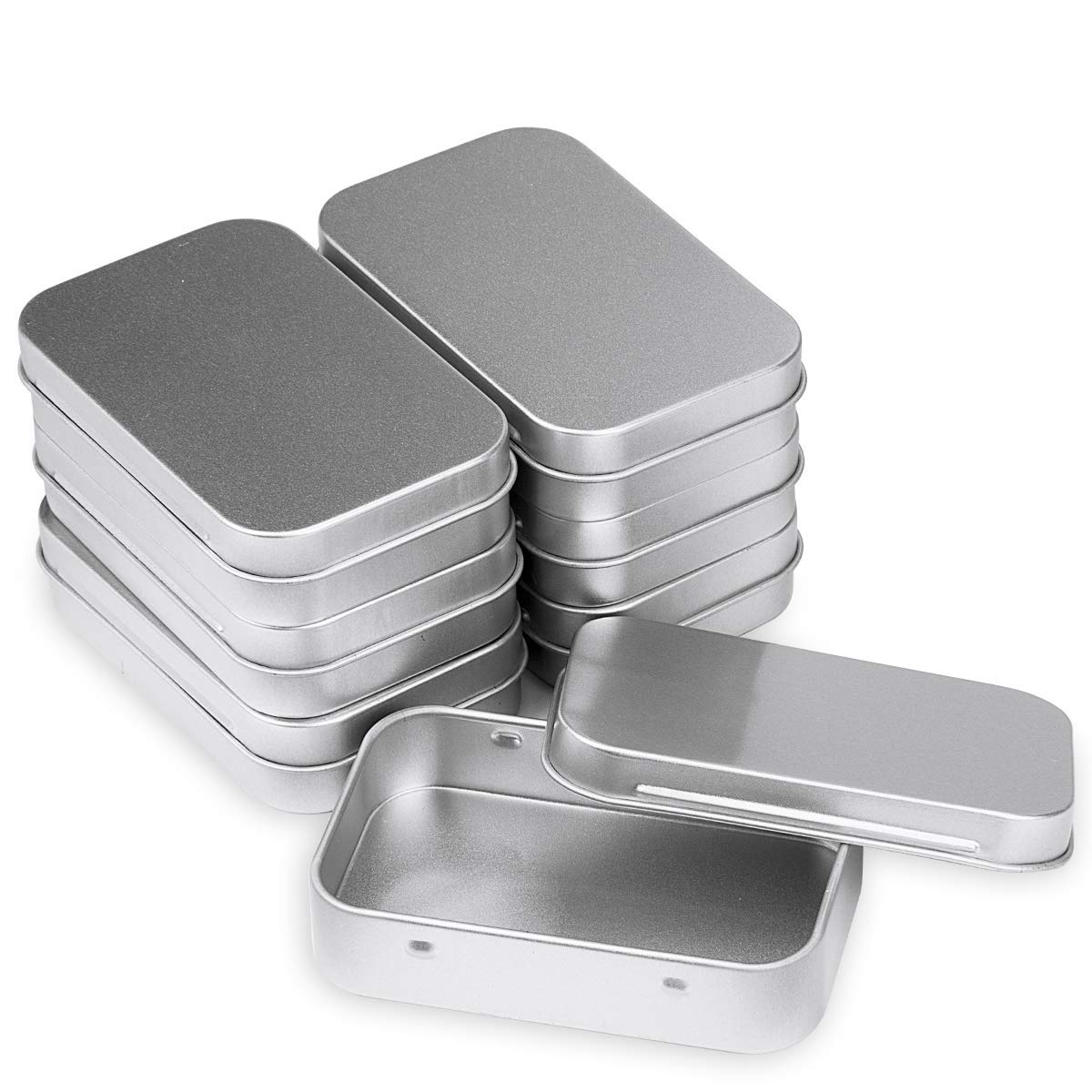 Ondder Silver Metal Rectangular Tin Box Containers Mini Storage Box Small Empty Container Portable-Sized Home Storage Organizer Kit, 3.75 by 2.45 by 0.8 inch (6 Pack)