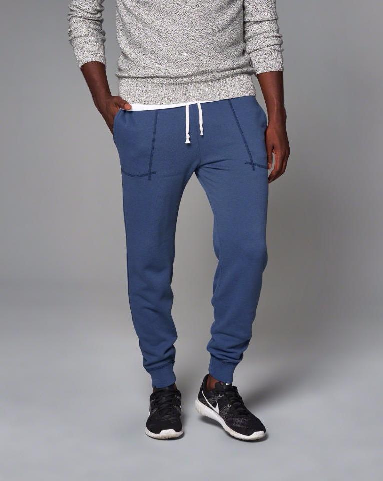 Hot Sale Men's Blue Elastic Waist Pants With Adjustable ...
