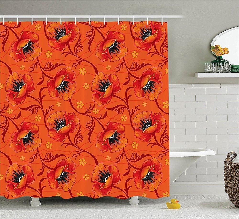 Get Quotations Burnt Orange Decor Collection Elegant Chic Poppy Flower Series Blossom Romance Boho Art Polyester
