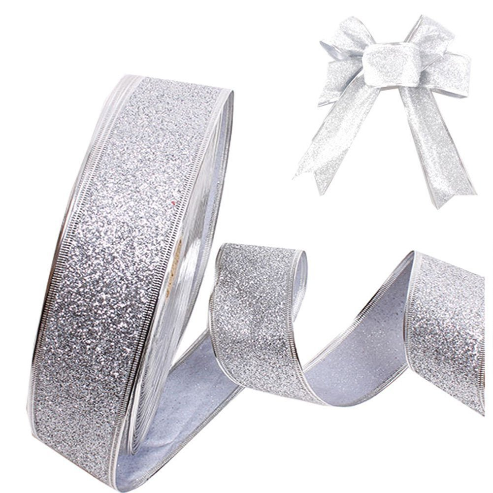 "Da.Wa Siliver Party Ribbon Wired Edge for Bows/Gift Wrapping,2""x78"""